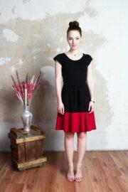 Jerseykleid schwarz rot