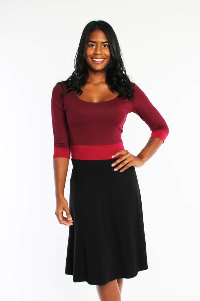 3-farbiges Jerseykleid