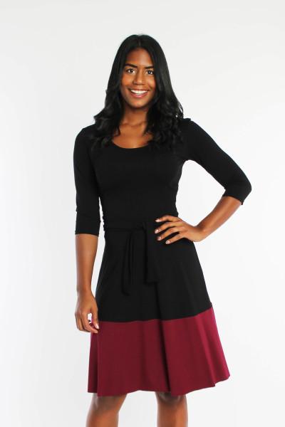 Jerseykleid schwarz bordeaux